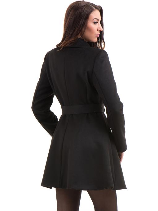 Елегантно дамско палто ICON с колан 9249 - черно B