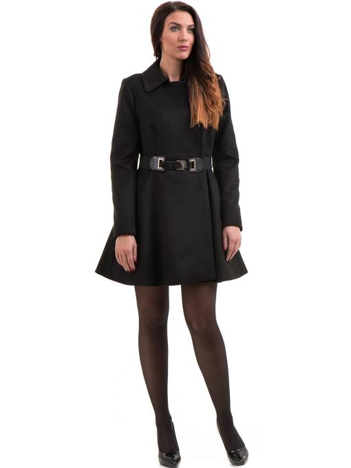 Елегантно дамско палто ICON с колан 9249 - черно C