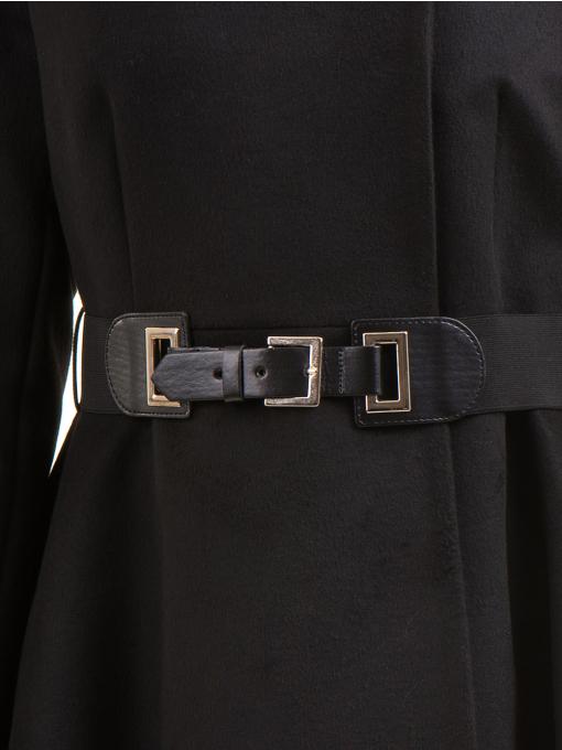 Елегантно дамско палто ICON с колан 9249 - черно D