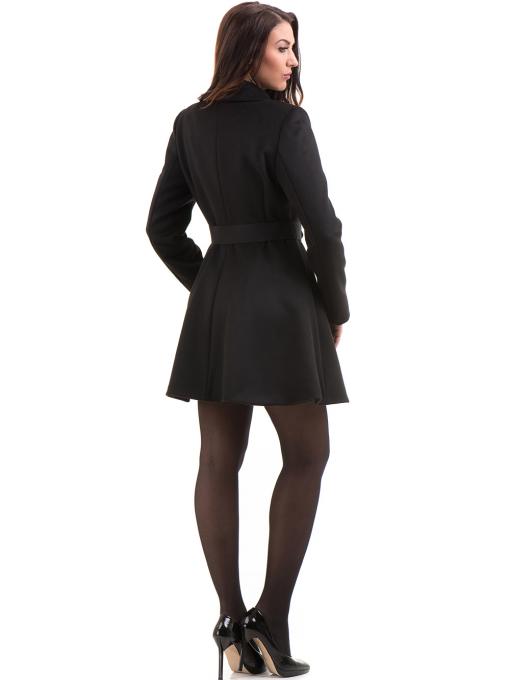 Елегантно дамско палто ICON с колан 9249 - черно E