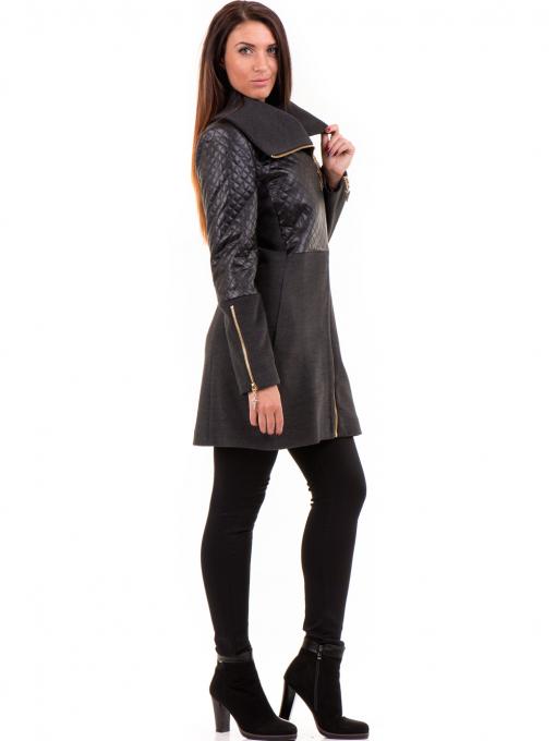 Елегантно вталено дамско палто JOY MISS 70571 - цвят антрацит C