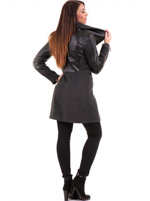 Елегантно вталено дамско палто JOY MISS 70571 - цвят антрацит E