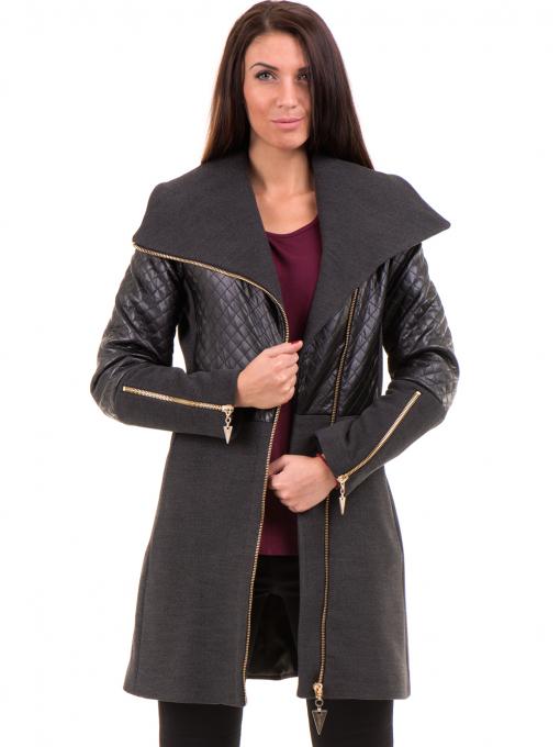 Елегантно вталено дамско палто JOY MISS 70571 - цвят антрацит