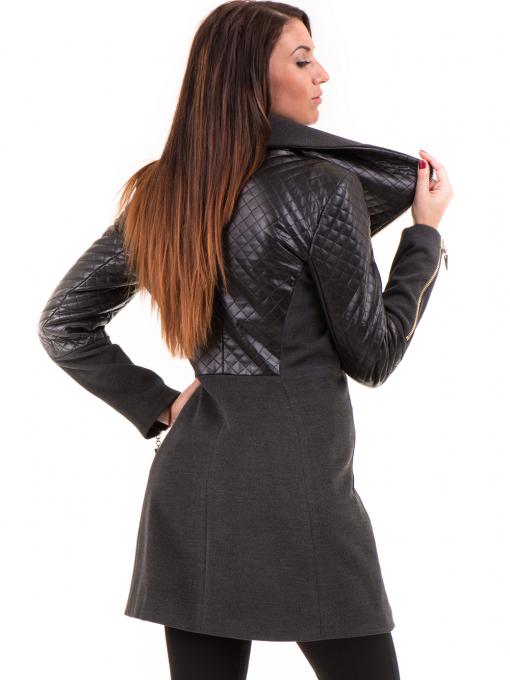 Елегантно вталено дамско палто JOY MISS 70571 - цвят антрацит B