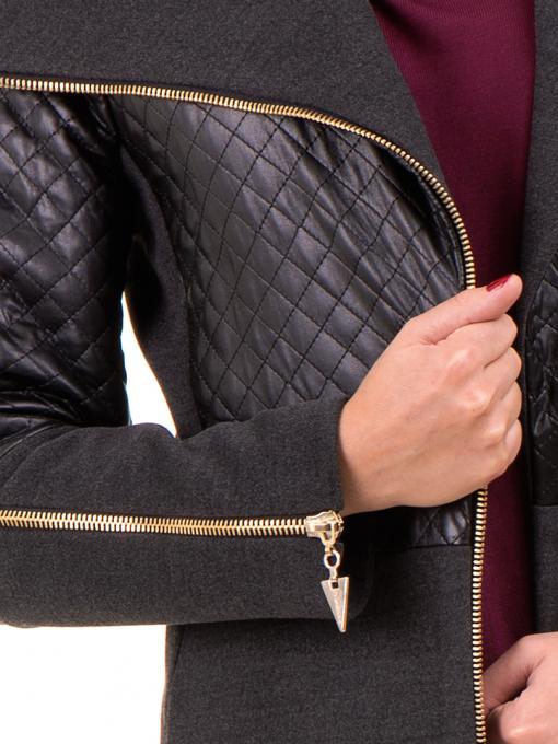 Елегантно вталено дамско палто JOY MISS 70571 - цвят антрацит D