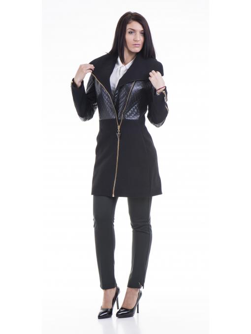 Елегантно вталено дамско палто JOY MISS 70571 - черно