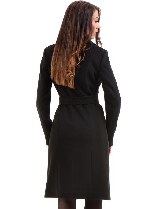 Класическо елегантно дамско палто MODE CLASS с колан 4086 - черно B