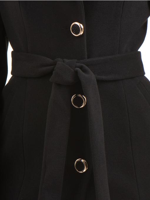 Класическо елегантно дамско палто MODE CLASS с колан 4086 - черно D