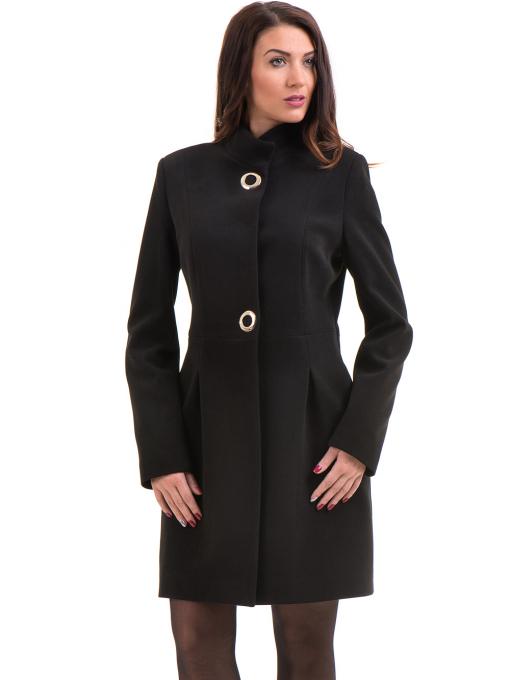 Класическо елегантно дамско палто MODE CLASS 4089 - черно
