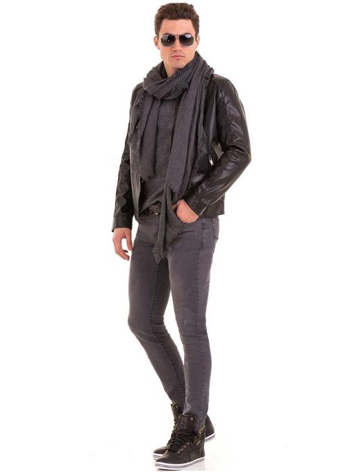 Мъжко спортно-елегантно яке XINT 348 - черно C2