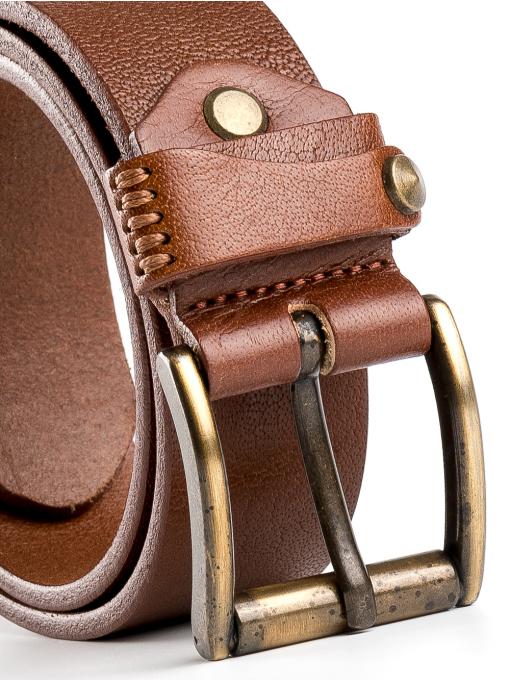 Мъжки колан от естествена кожа с метална тока 53022 INDIGO Fashion