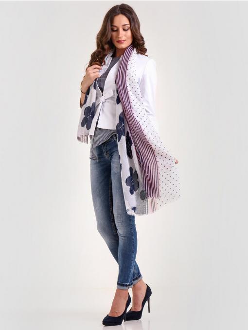 Дамско бяло сако с 7/8 ръкав и колан от Indigo Fashion 5