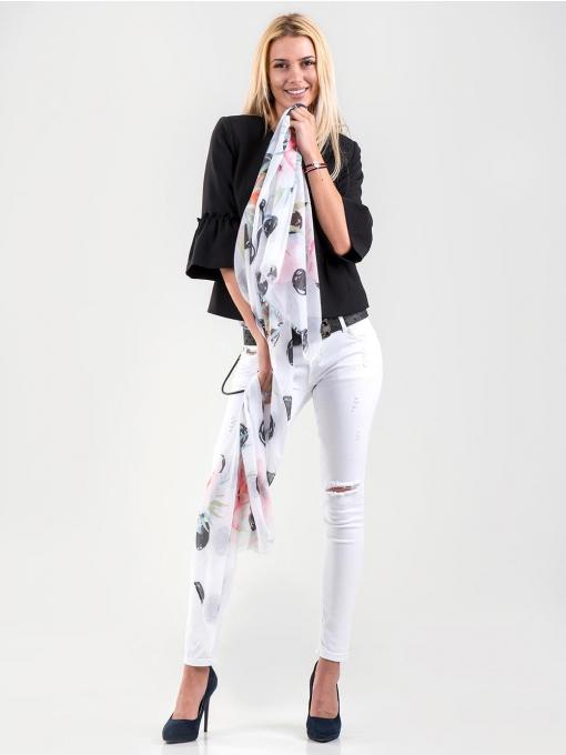 Сив дамски топ с флорални мотиви 15924 INDIGO Fashion