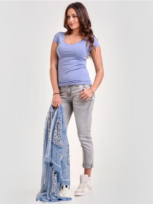 Лилава дамска блуза с V-образно деколте 601298 INDIGO Fashion