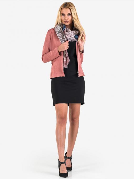 Дамско късо яке с цип - розово 26048 INDIGO Fashion