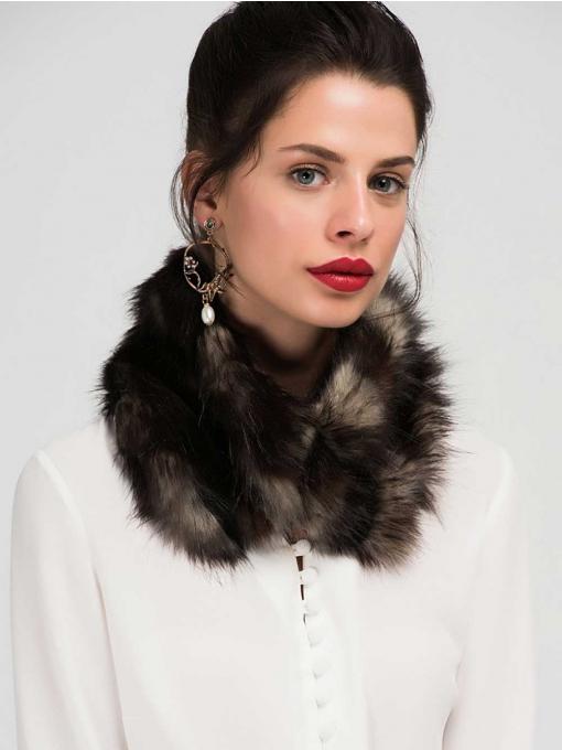 Дамска къса шал-яка - цвят капучино 11354 INDIGO Fashion