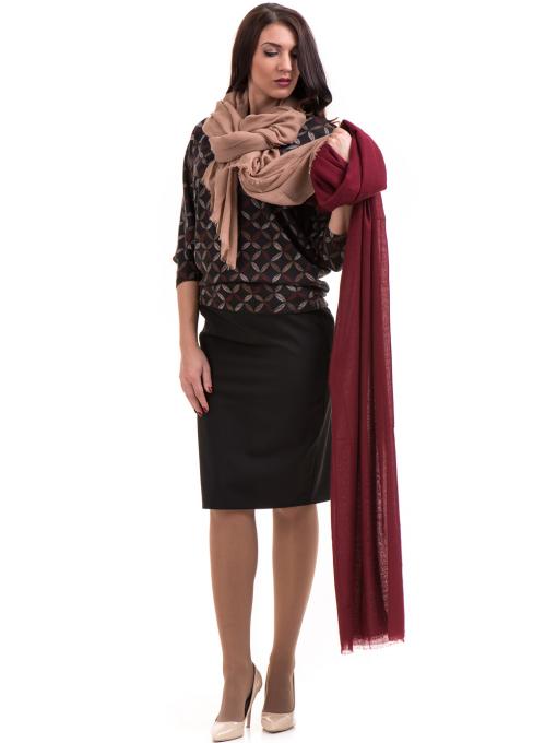 Дамска блуза  с флорални мотиви XINT 155 - цвят антрацит C1