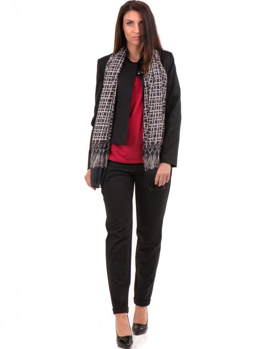 Дамски панталон F.L.M с колан 650 - черен C1