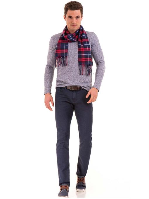 Мъжка блуза с дълъг ръкав XINT 016 - синя C1