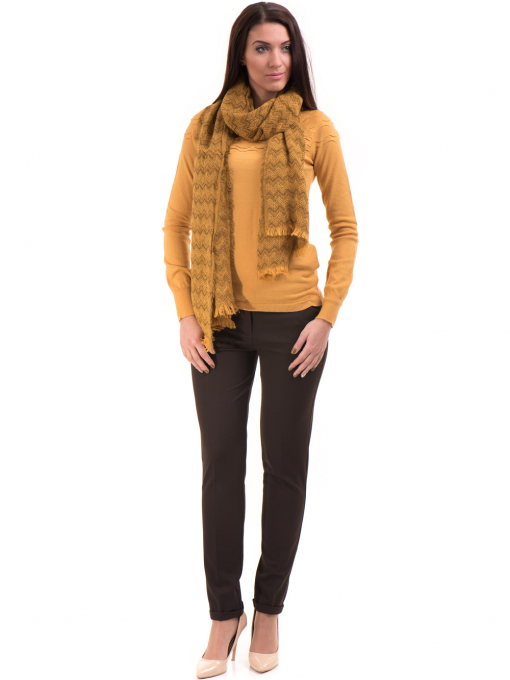 Дамски панталон ZANZI с колан A11107 - цвят кафяв C2