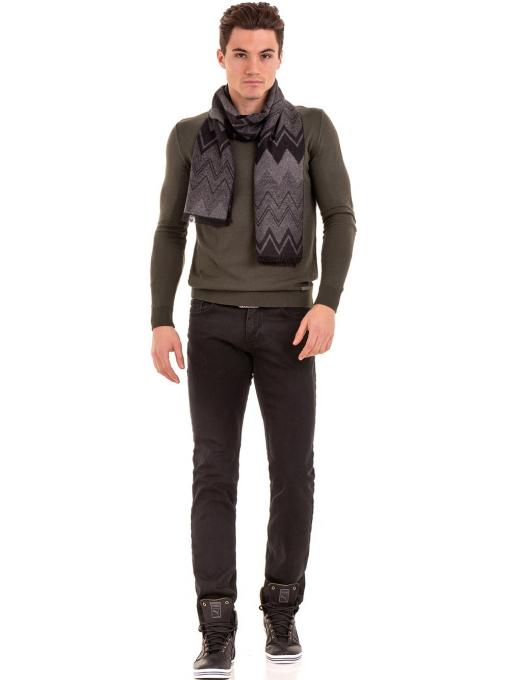Мъжки кашмирен шал INDIGO 8516 - тъмно сив C