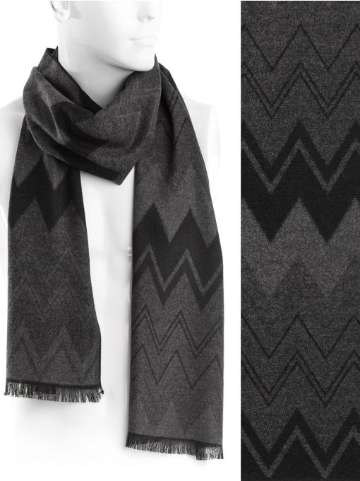 Мъжки кашмирен шал INDIGO 8516 - тъмно сив