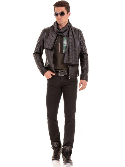 Мъжко спортно-елегантно яке XINT 348 - черно C1