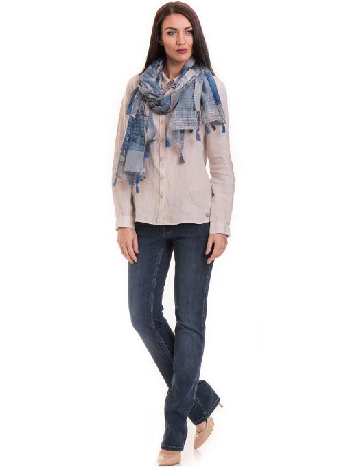Ленена дамска риза XINT 456 - светло бежова C1