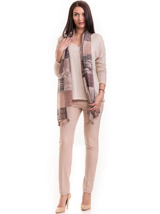 Елегантен дамски панталон ZANZI с колан 41107 - светло бежов C1