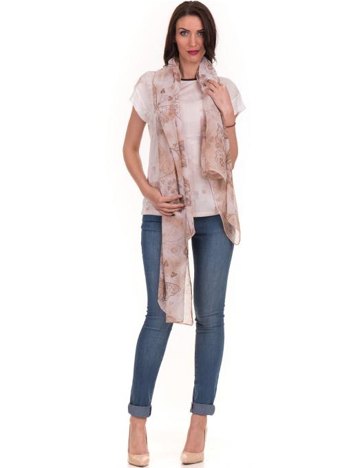 Дамска блуза с обло деколте XINT 190 - цвят екрю C1