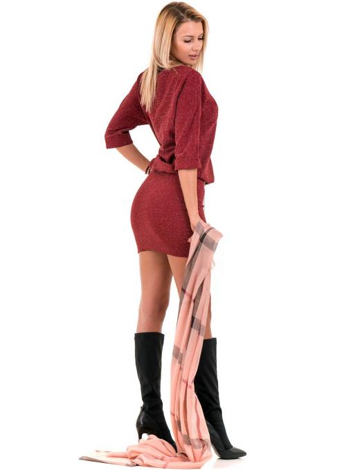 Елегантна рокля F&K 3096 с колан - червена C1