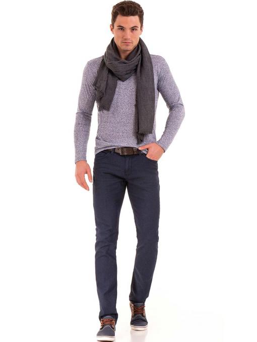 Мъжка блуза с дълъг ръкав XINT 016 - синя C2