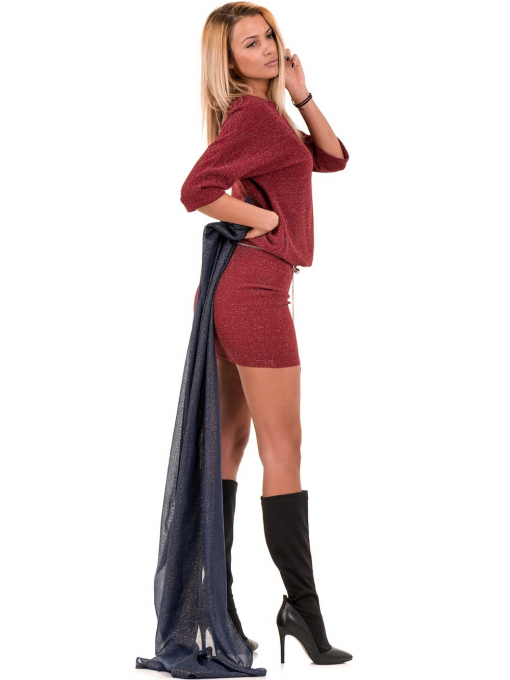 Елегантна рокля F&K 3096 с колан - червена C3