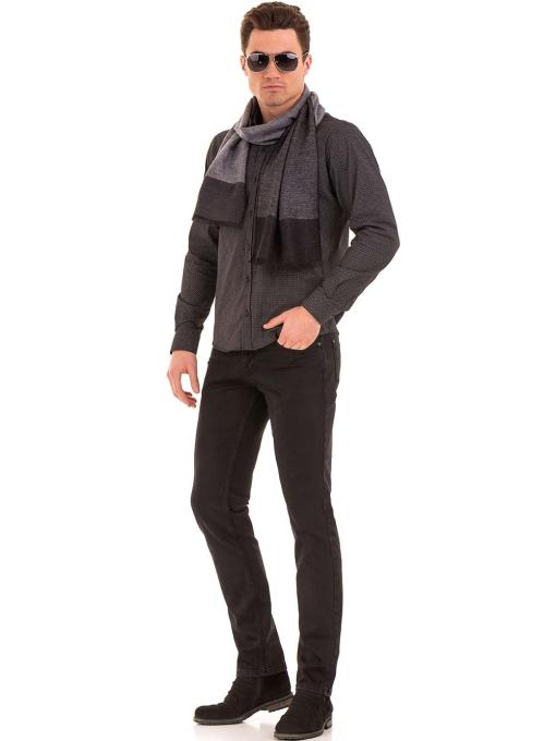 Мъжки класически дънки LACARINO с колан 4727 - тъмен деним C10
