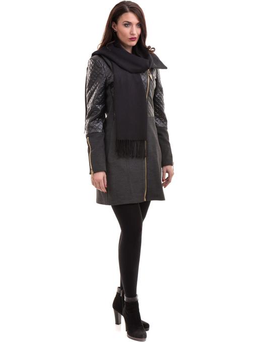 Елегантно вталено дамско палто JOY MISS 70571 - цвят антрацит C1