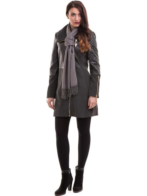 Елегантно вталено дамско палто JOY MISS 70571 - цвят антрацит C2