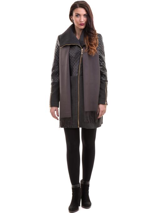 Елегантно вталено дамско палто JOY MISS 70571 - цвят антрацит C3