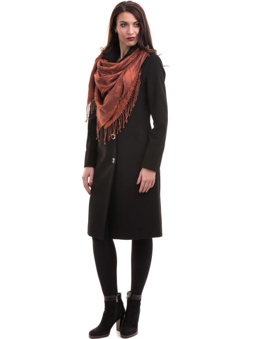 Класическо елегантно дамско палто MODE CLASS с колан 4086 - черно C1