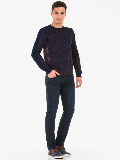 Мъжка блуза  на райе MCL 29331 - бордо