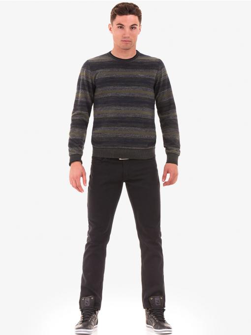 Мъжки пуловер на райе MCL 29406 - цвят каки - големи размери