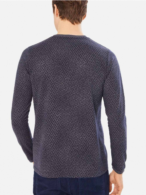 Мъжка тъмносиня блуза с фигурален десен и джоб 501328 INDIGO Fashion