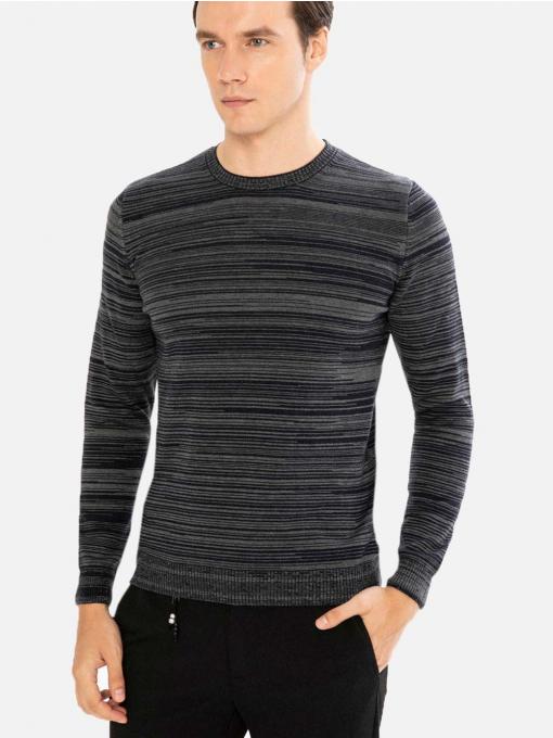 Мъжки тъмносин пуловер с дълъг ръкав на райе 801426 INDIGO Fashion
