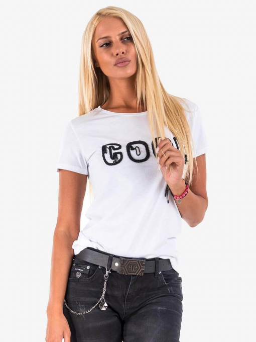 Дамска блуза с надпис от мъниста 601633 INDIGO Fashion