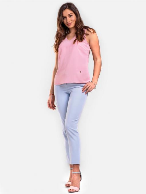 Розов елегантен дамски топ с v-образно деколте 2328 INDIGO Fashion