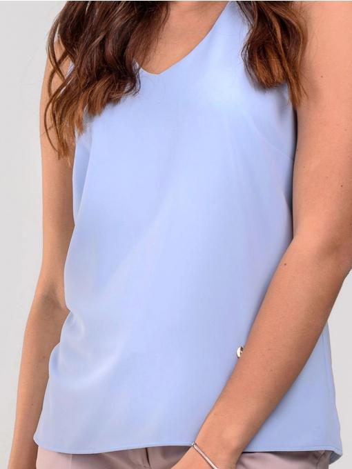 Светлосин елегантен дамски топ с v-образно деколте 2328 INDIGO Fashion