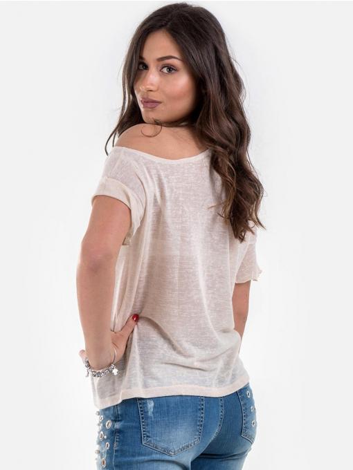 Дамска светло бежова блуза с падащо рамо 601343 INDIGO Fashion