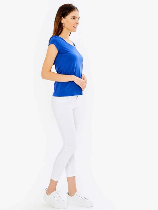 Дамска вталена блуза с овално деколте - синя 601472 INDIGO Fashion