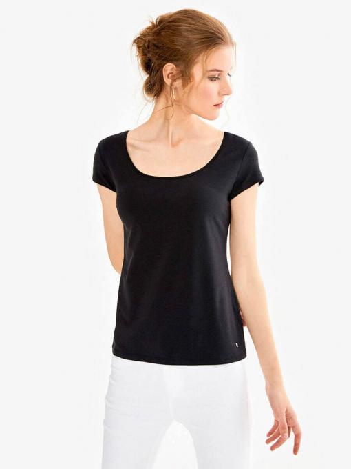 Дамска вталена блуза с овално деколте - черна 601472 INDIGO Fashion