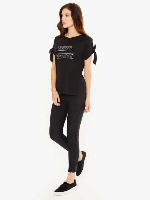 Черна дамска блуза с връзки 601525 INDIGO Fashion