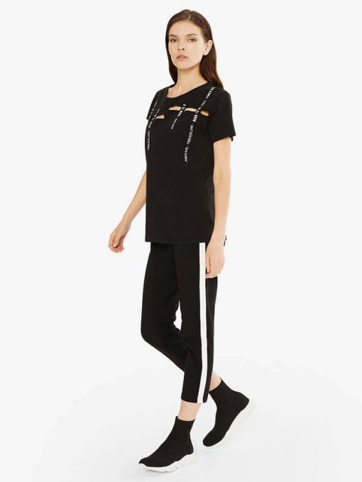 Блуза с изрязани участъци - черна 601550 INDIGO Fashion